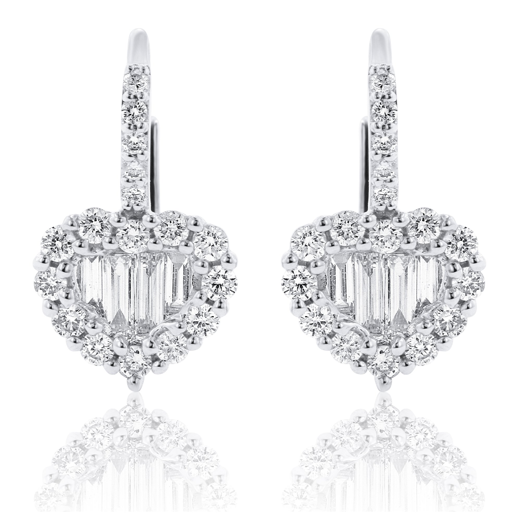 Round And Baguette Diamond Heart Earrings In 18k White Gold M A Jewelers